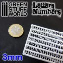 GSW Green Studd World Letters and Numbers 3 mm